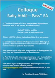 "ANNULE: Colloque Baby Athlé - Pass"" EA"